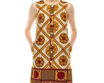 Tilda Shift dress - Gold square print
