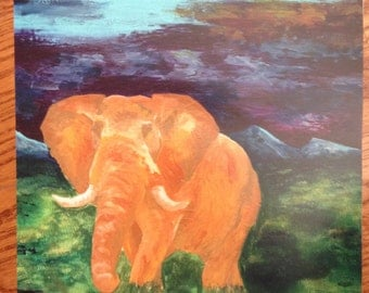 "Orange Elephant Painting 11"" x 14"" Print"