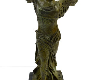 Nike Ancient Greek Winged Victory of Samothrace Bronze statue sculpture