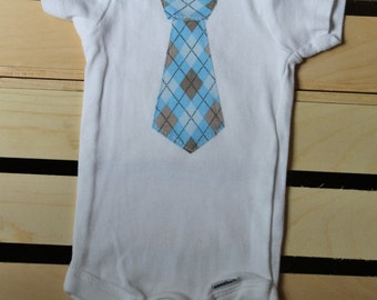 Baby Boy Blue Argyle Tie Bodysuit