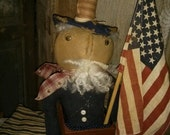 Primitive Uncle Sam Star Flag Cloth doll Hafair FAAP USA  4th of July Americana Patriotic
