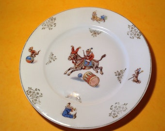 1930's CHILD's DINNER PLATE with Circus Motif.