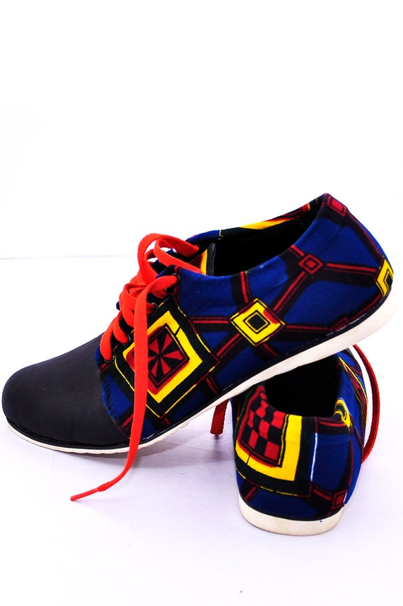 Blue Wax print shoe, Ankara print Man's shoe