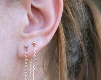 Gold chain stud earrings, ear jackets. delicate chain drop earrings, long earrings