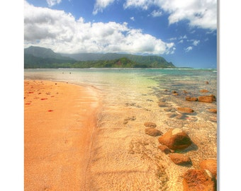 Hanalei Bay Photo \ Kauai Photo | Ocean Canvas photo |  Hawaii photo | Tropical Decor | Hawaii canvas art | Ocean art / hawaiian decor
