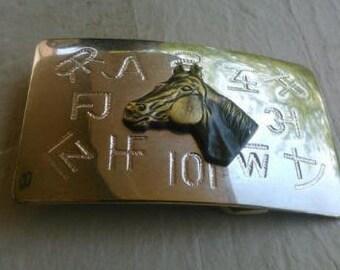 Unique Vintage Western Brass Horse Brand Silver Belt Buckle