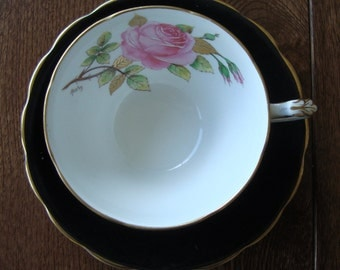 Adderley Bone China England - Vintage Tea Cup and Saucer - Black with a Pink Rose