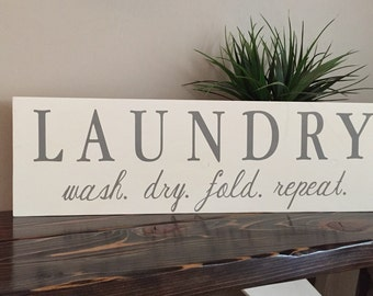 Laundry Room Sign, Hand painted Wash. Dry. Fold. Repeat. Sign, Laundry Room Decor, Grey and White Laundry Room Sign