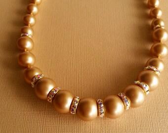 Swarovski Crystal Vintage Gold Pearl Necklace