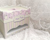 Shabby Lilac Box. Personalized Baby Box. Purple Baby Girl Gift. Diaper Organizer. Vintage Diaper Storage. Lilac Mint Nursery Decor.
