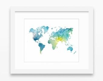 World map print, blue green print, ombre print, map print, world map printable, watercolor world map, blue wall art, instant download, 10x8