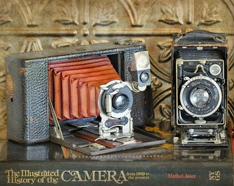 Photographer Decor, Print of Old Cameras, Photo Studio Decor, Vintage Camera Photograph, Gift for Photographer, Old Camera Print