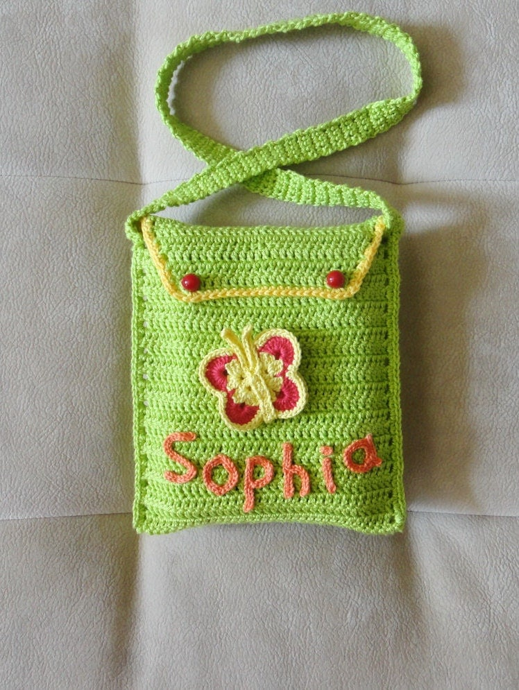 Girls Personalized Crochet Purse Crochet by 3FlowerGirl3Boutique
