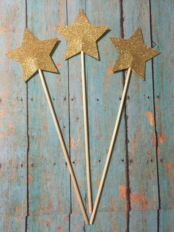 Star centerpiece picks glitter stars on a stick
