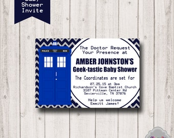 Doctor Who Baby Shower Invitation - Printable - Inv020 - Baby Shower