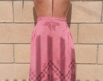 1940s Red Gingham Apron