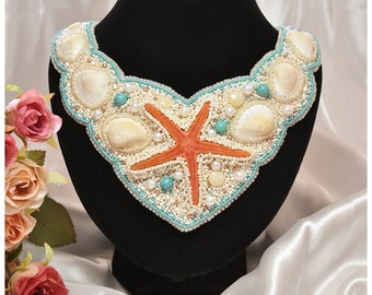 Freshwater pearls, starfish, shell beaded embroidery necklace, seed bead, handmade beading necklace, embroidered beadwork, beaded necklace.