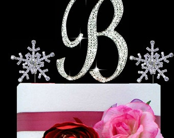 Large Monogram Letter B OR A Cake Topper in rhinestones snowflakes wedding cake topper birthday Bling cake topper