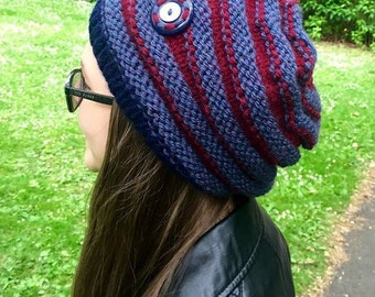 Cosy, warm, hand knitted slouch hat to keep you snug and warm.