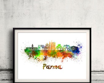 Parma skyline in watercolor over white background with name of city 8x10 in. to 12x16 in. Poster Wall art Illustration Print  - SKU 0540