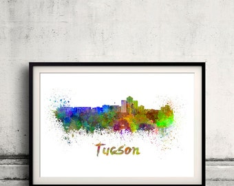 Tucson skyline in watercolor over white background with name of city 8x10 in. to 12x16 in. Poster art Illustration Print  - SKU 0555