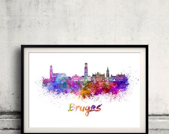 Bruges skyline in watercolor over white background with name of city 8x10 in. to 12x16 in. Poster art Illustration Print  - SKU 0559
