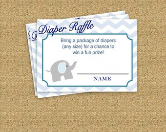 Blue Boy Elephant Baby Shower Diaper Raffle Ticket - Instant Download