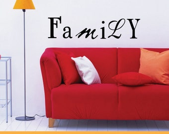 Family Words Decor | Removable Wall Decal Sticker | MS055VC