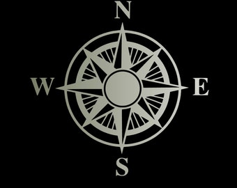 Compass wall decal, vinyl nautical decoration, compass rose sticker, laptop decal, removable wallpaper, nautical  wallstickers, wall decor
