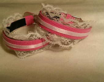 Pink and White Vintage Inspired Cuff Bracelet