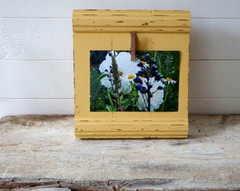 Wood rustic photo frame - 4x6 photo - picture display - mustard yellow picture frame - picture holder - picture framing - 8x8 picture frame