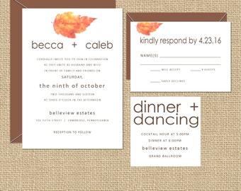 Fall Leaves Modern Wedding Invitations