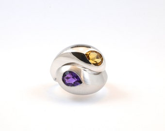 Amethyst  citrine ring, purple & orange stone ring, Purple amethyst ring, Citrine silver ring, silver amethyst ring, sterling silver ring