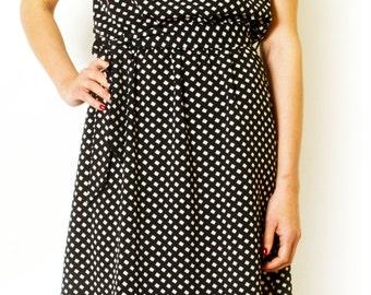 Black Printed Midi Dress Sleeveless Sundress  Summer Dress Women Day Dress Casual Simple Dress