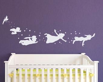 Peter Pan Children Flying Silhouette Fantasy Fairytale Magic Tinkerbell Wall Decal Neverland Nursery Baby Kids Bedding Art Mural Q023