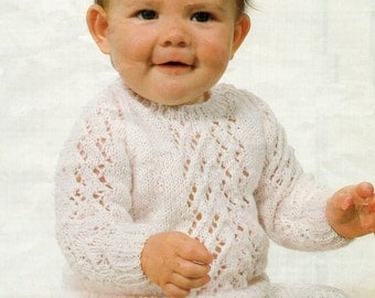 Baby Knitting Pattern Lace Knit Sweater 14 - 22 inches
