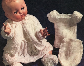 Vintage Dolls Clothes Knitting Pattern for 14 and 16 inch dolls