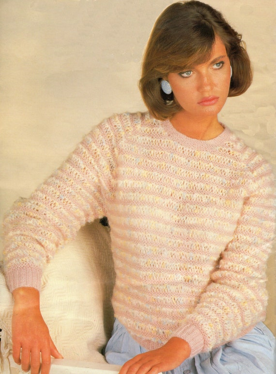 Round Neck Sweater Knitting Pattern : Ladys Knitting Pattern Round Neck Striped Sweater 30 42