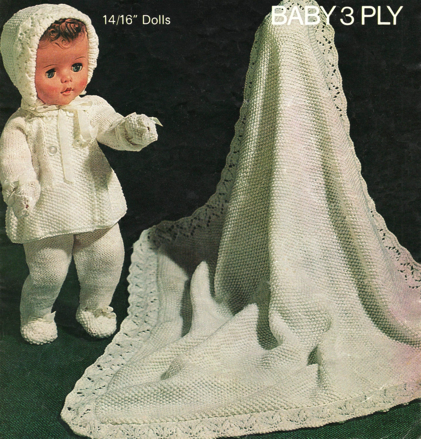 Vintage Knitting Patterns Dolls Clothes : Vintage Doll Clothes Knitting Patterns Pram Set for 14 and 16