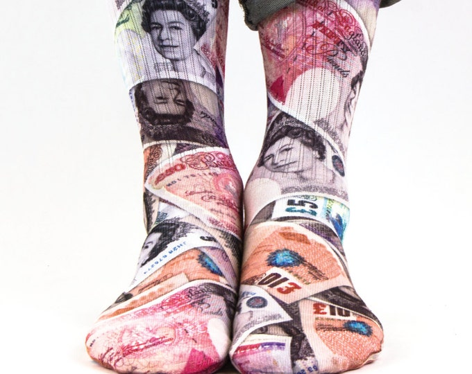 Samson® Sterlink Mixed Hand Printed Socks Pounds Sublimation Queen Money Bill Currency Quality Print UK