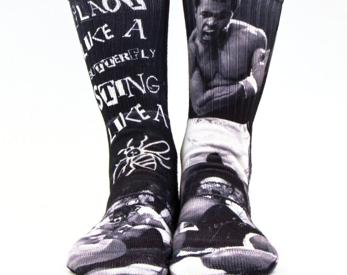 Samson® Ali Box Sublimation Hand Printed Socks Boxing Muhammad Fight Vintage Quality Print UK