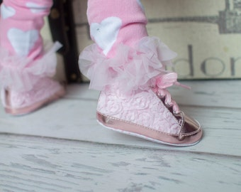 Baby Girls Light Pink Rosettes Bling Crib Shoes- Baby Shoes - Soft Sole Baby Girl Shoes