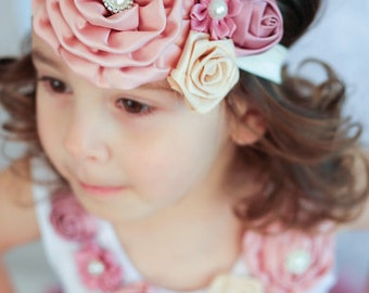 Girls Dusty Pink Beige Rosettes Flower Pearl Crystal Headband - Baby Headband, Shabby Chic Headband, Girls headband, Newborn Headband