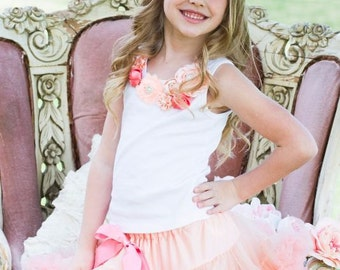 Girls Vintage Rosette Peach Strawberry Ice Pettiskirt And Top- Little Girl, Toddler, Big Girl Up To Size 5-7 Yrs