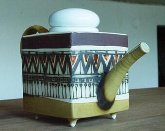 Stoneware Teapot with strainer. Square teapot with infuser. Stoneware Tea Pot, Handmade Teapot, Art pottery, Danko pottery