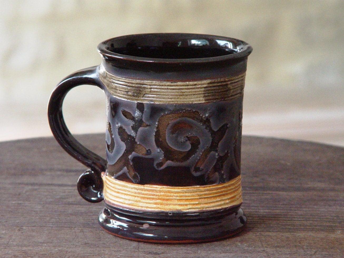 Promotional 11 Oz. Black Windstone Ceramic Mugs with ...  |Black Stoneware Pottery Mug