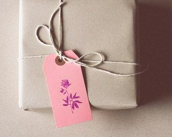 Pink Flower Parcel Gift Tag / Set of 5