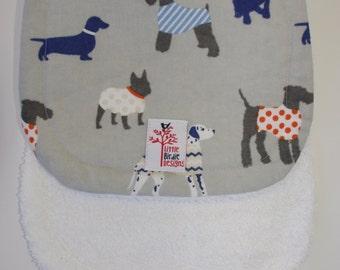 SALE! Burping Rug: Trendy WINTER dogs grey