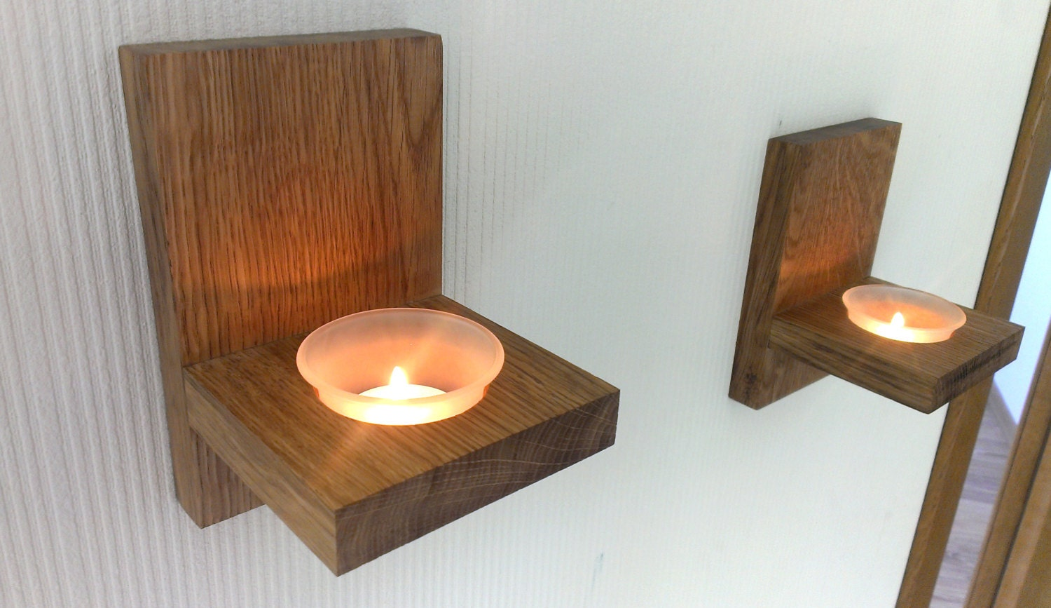 Wall Hung Tea Light Holders : Modern Wall Mount Tea Light Candle Holder Oak Candle Holder