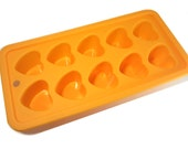 Mini Hearts Silicone Mold // Orange Reusable Chocolate, Candy, Cake Pop Mold // Kids Heart Pastry Cooking Mold Tray // Kawaii Bakeware